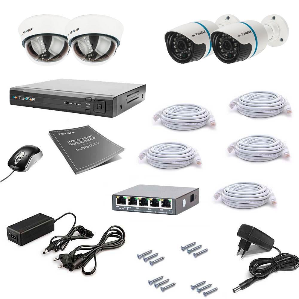 Комплект IP видеонаблюдения Tecsar IP 4OUT LUX MIX