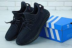 Мужские кроссовки Adidas Yeezy 350 Black черные, Полный рефлектив. ТОП Реплика ААА класса.