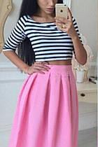 Костюм юбка с топом (топ полоска, юбка 70см розовый, вискоза+габардин) Размеры S,М,L (розница и опт)