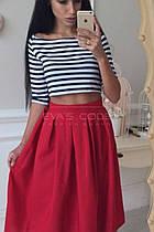 Женский костюм (топ в полоску, юбка 70 см красный, вискоза+габардин) Размеры S,М,L (розница и опт)