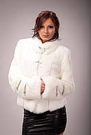 Куртка приталенная укороченная  из  белого  кроля, фото 1