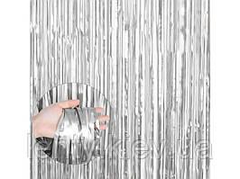 Шторка/занавес для фотозоны 1х2 м- Серебро матовое (сатин)