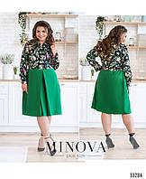Нарядное женское платье большого размера №690-зеленый,  Размеры 50,52,54