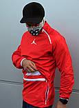 Мужской весенний Анорак (ветровка) Jordan красный о, фото 9