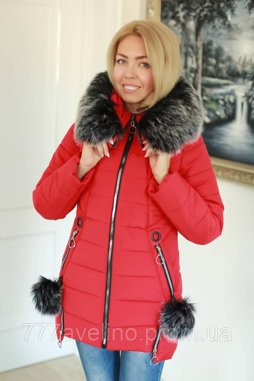 Зимняя куртка женская стильная красная
