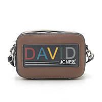 Женская сумка на плечо, Клатч коричневый  David Jones 6138-1 brown/cognac