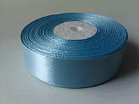 Лента атласная голубая 25 мм бобина 33 м