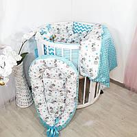 Набор для кроватки: Бортики + кокон + конверт-плед + постельное + ортопедическая подушка, фото 1