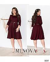 Красивое женское платье большого размера №41102-бордо,размер 50,52,54,56