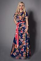 Нарядное женское платье в пол из шелка