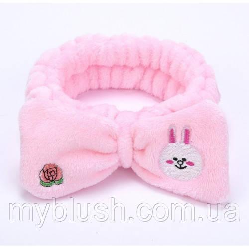 Повязка на голову для умывания бантик зайчик (розовая)