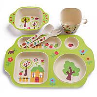🔝 Детская посуда из бамбука, экологическая посуда, для еды, набор 5 предметов, расцветка - Дом в саду , Посуда для детей