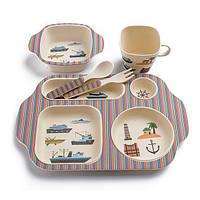 🔝 Набор детской посуды, из бамбукового волокна, экологическая посуда, 5 предметов, расцветка - Корабли , Посуда для детей
