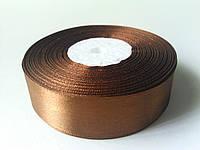 Лента атлас 25мм коричневая метр