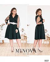 Нарядное женское платье большого размера №198-темно-зеленый,размер 50,52,54,56,58,60