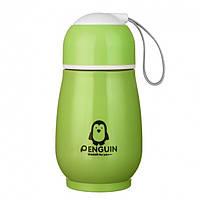 """🔝 Детский термос, термос пищевой, цвет- зеленый, с секретиком, """"Пингвин"""", термос для детей в школу , Термокружки, Термокружки"""