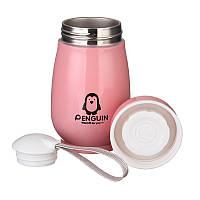 """🔝 Термос детский,  с секретиком, термос для бутылочек, цвет- розовый, """"Пингвин"""", термос для чая, Термокружки, Термокружки"""