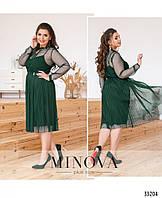 Нарядное женское платье №284-темно-зеленый,размер 46,48,50