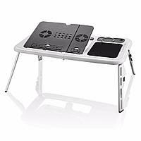 🔝 Портативный раскладной столик для ноутбука E-Table, подставка для ноутбука с системой охлаждения, Комп'ютерні столи-трансформери, підставки для