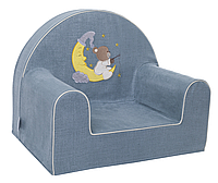 Мягкое детское кресло «Мишка на месяце», бирюза