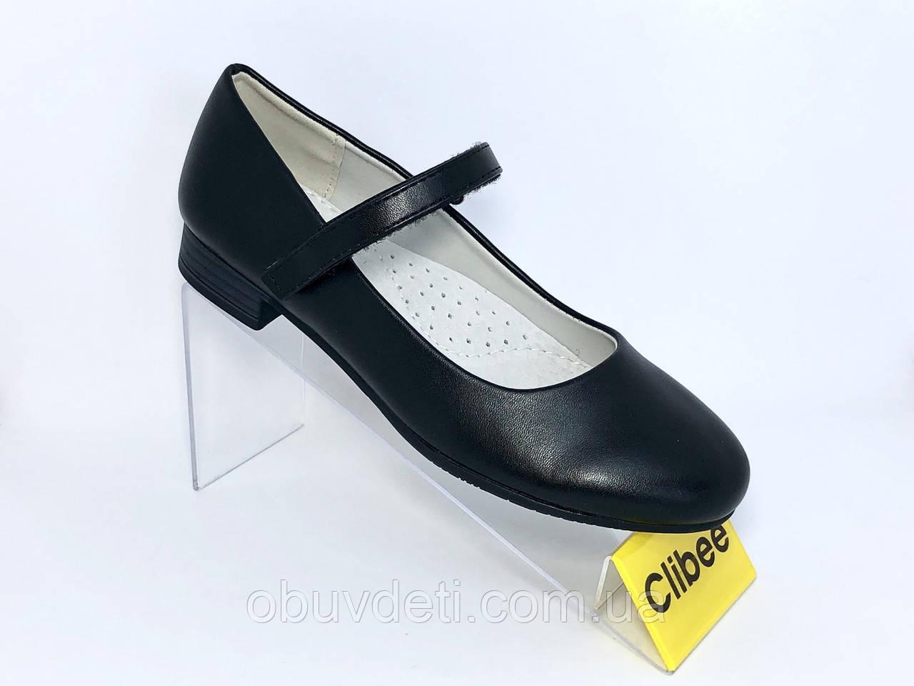 Качественные туфли   для школы 34 - 22.5 см  для девочек clibee