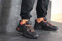 Мужские кроссовки Reebok рибок черные с оранжевым