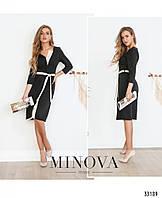 Стильное женское платье №1867-беж-черный,размер 42,44,46,48