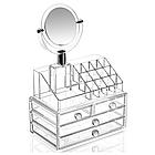 Органайзер для косметики акриловый Cosmetic Organizer с зеркалом и тремя ящиками для хранения ОПТ, фото 2