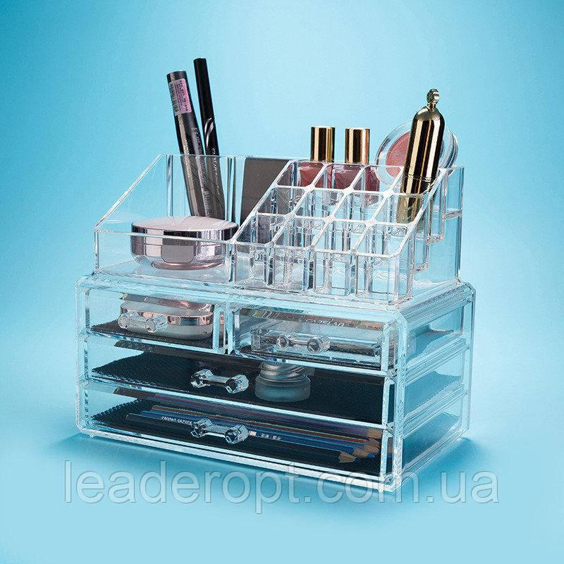 Органайзер для косметики акриловый Cosmetic Organizer с зеркалом и тремя ящиками для хранения ОПТ