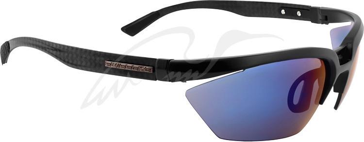 Очки баллистические Swiss Eye C-Tec. Цвет - черный, оправа из углеродистого волокна, 2 сменные линзы (дымчато-синий зеркальный/прозрачный), чехол из