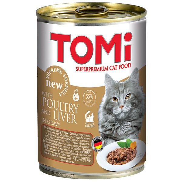 Консервы для кошек с птицей и печенью TOMi 400 г