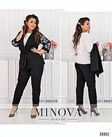 Красивый женский костюм тройка большого размера№684-черный,размер 50-52,54-56,58-60