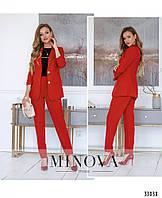 Стильный женский брючный костюм №1855-красный, размер 42,44