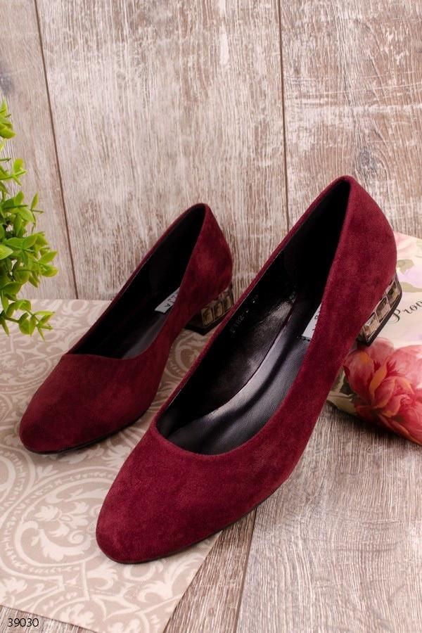 Туфлі жіночі бордові - марсала еко-замш на маленькому підборах 3 см