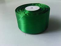 Лента атласная зеленая 50 мм 1 метр