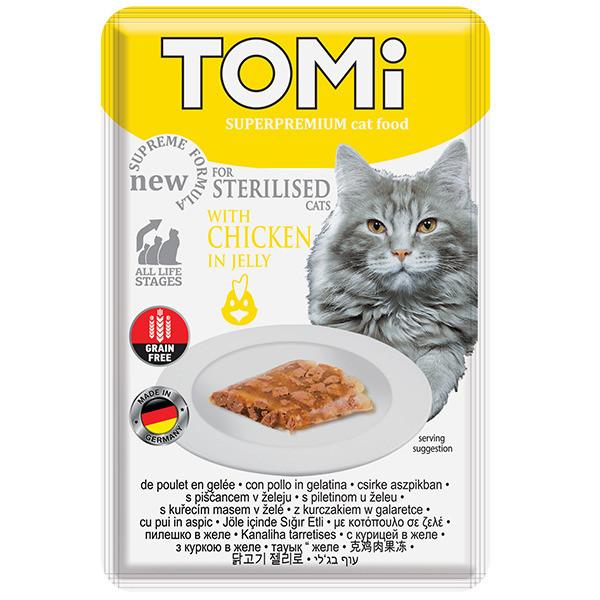 Влажный корм с курицей в желе для кастрированных и стерилизованных кошек TOMi Sterilised Chicken 85 г