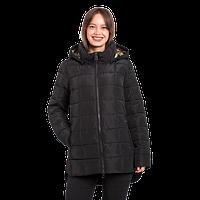 Женская демисезонная куртка Finn Flare A17-12009 удлиненная чёрная