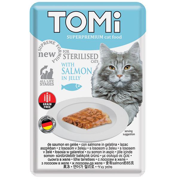 Вологий корм з лососем в желе для кастрованих і стерилізованих кішок TOMi Sterilised Salmon 85 г