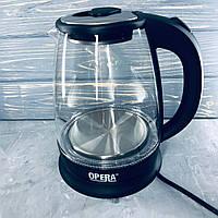 Стеклянный электрочайник Opera OP-860 Черный