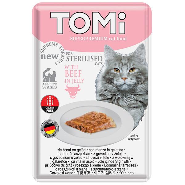 Влажный корм с говядиной в желе для кастрированных и стерилизованных кошек TOMi Sterilised Beef 85 г
