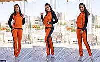 Женский весенне-осенний спортивный костюм,штаны прямые,кофта с капюшоном и стойка (двухнитка) 2 цвета