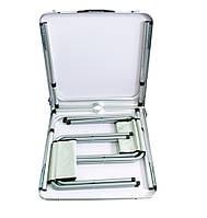 🔝 Раскладной столик + 4 стула набор для пикника, складной стол-чемодан на природу алюминиевый, Мрамор , Туристические кресла, гамаки