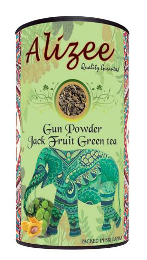 Чай зеленый листовой с джекфрутом Alizee Gun Powder Jack Fruit Green Tea 150 г в подарочной банке
