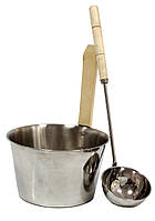 Набор шайка 4 л и черпак 40 см из нержавейки для бани и сауны