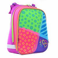 Разноцветный каркасный ранец 1 вересня для девочки38*29*15