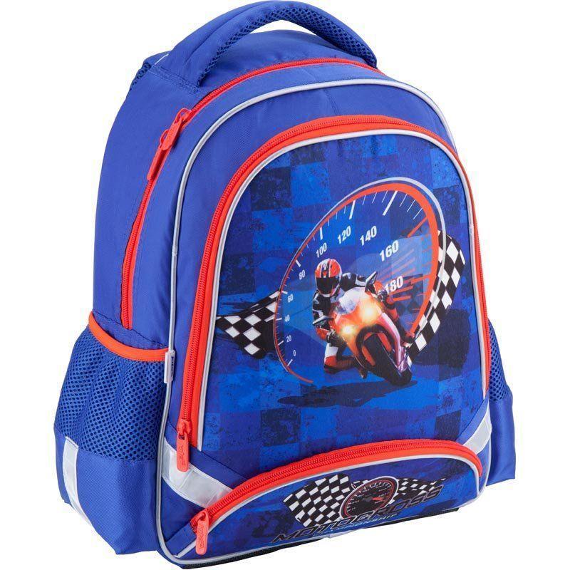 Школьный синий ортопедический рюкзак для мальчика Kite Motocross38*29*13