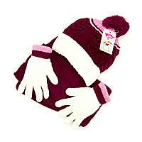 Шапка шарф перчатки Suve для 7-12 лет Бордовый TUR 50217 bordo, КОД: 152797