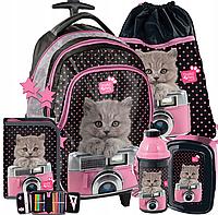 Школьный рюкзак на колесах PASO с кошкой, комплект 5шт.