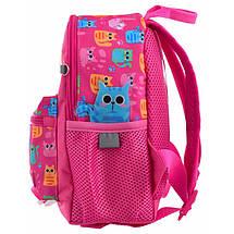 Школьный розовый рюкзак с котятами для девочки 22*18*9 см, фото 3