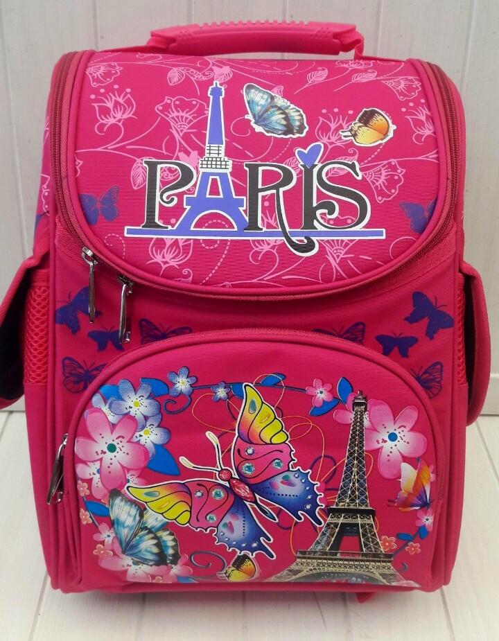 Малиновый ортопедический ранец Paris для девочки 1-4 класс 33*25*15 см